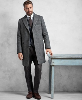 Brooks Brothers Golden Fleece Grey Herringbone Topcoat