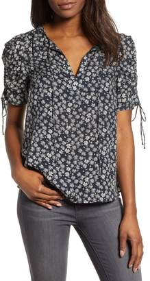 Lucky Brand Floral Print Tie Sleeve Top