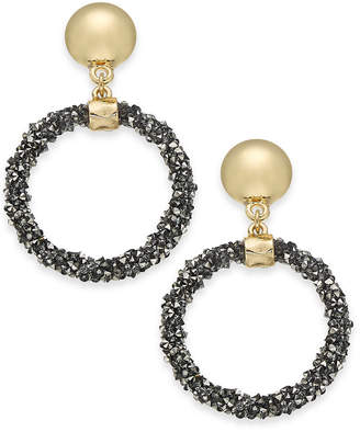 INC International Concepts I.n.c. Large Gold-Tone & Hematite-Tone Bead Glitter Gypsy Hoop Earrings, 2""