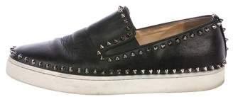 Christian Louboutin Pik Boat Flat Leather Sneakers