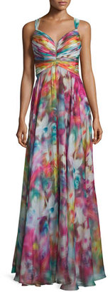La Femme Sleeveless Swirl-Print Strappy Gown, Multi $358 thestylecure.com