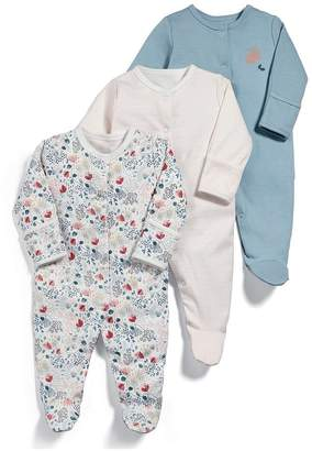 Mamas and Papas Baby Girls 3 Pack Floral Sleepsuits