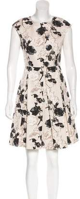 Max Mara Floral Print Pleated Dress