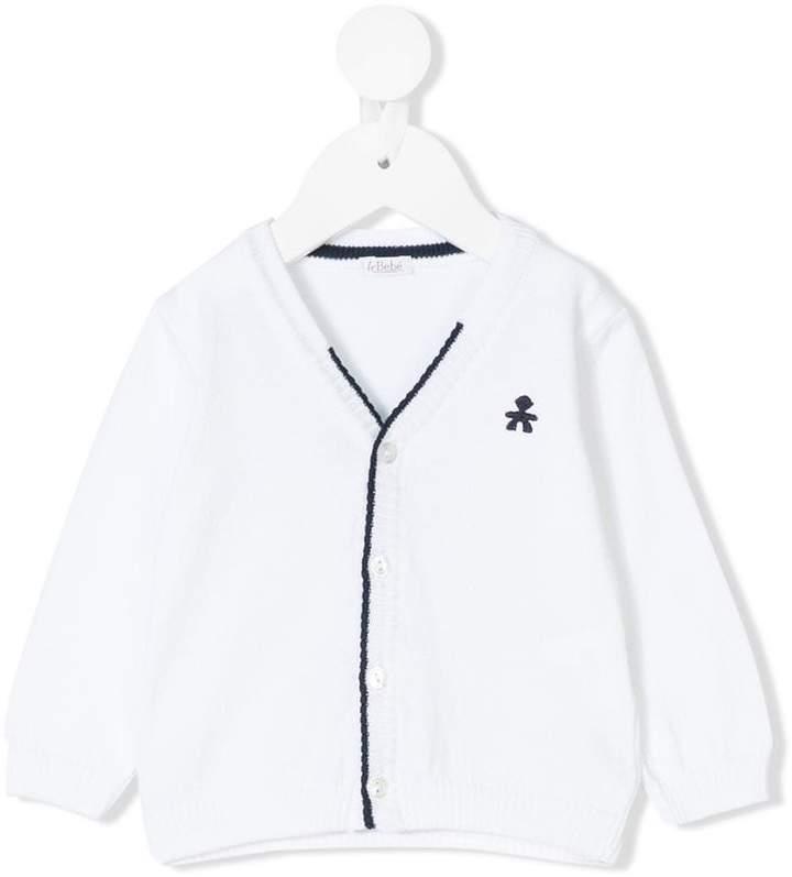 Le Bebé Enfant embroidered logo cardigan