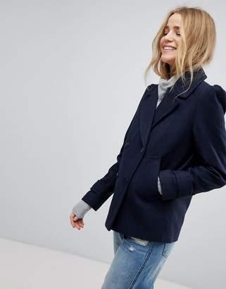 New Look Puff Sleeve Pea Coat