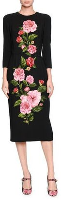 Dolce & Gabbana Rose-Print Cady Midi Dress, Black/Pink $2,495 thestylecure.com