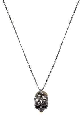 Alexis Bittar Pyrite & Crystal Elements Skull Pendant Necklace