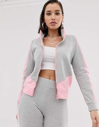 Parisian color block zip front jacket loungesuit two-piece