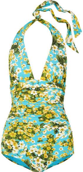 Ruched Floral-print Halterneck Swimsuit - Light blue