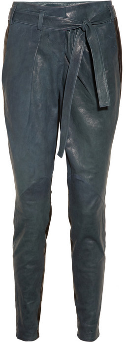Helmut Lang Color-block leather tapered pants