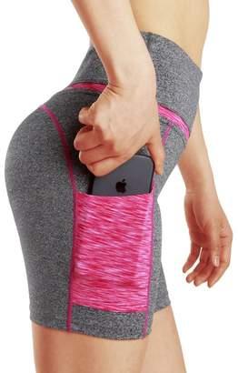DNggAND Women's High Waist Tummy Control Workout Yoga Shorts Side Pockets (M, )