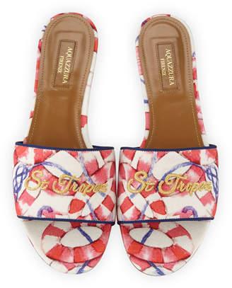Aquazzura St. Tropez Embroidered Slide Sandals, Pink/White