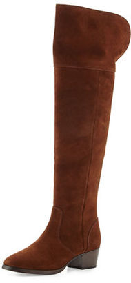 Frye Clara Suede Over-The-Knee Boot, Brown $528 thestylecure.com