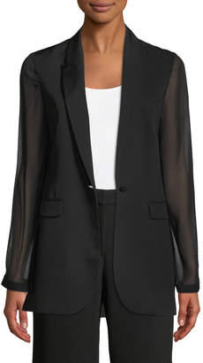 Elie Tahari Jovana One-Button Sheer-Sleeve Jacket