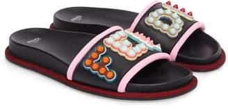 Fendi Studded Logo Slide Sandal