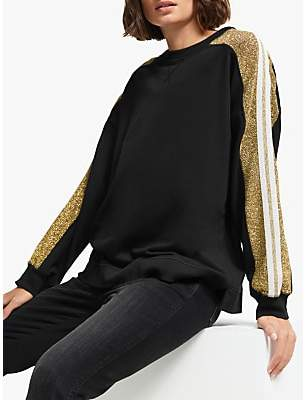 Mila Louise AND/OR Glitter Stripe Sweatshirt, Black/Gold