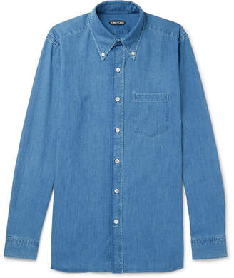 Tom Ford Button-Down Collar Cotton-Chambray Shirt