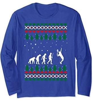 Tennis Player Human Evolution Christmas Ugly Sweater Tshirt