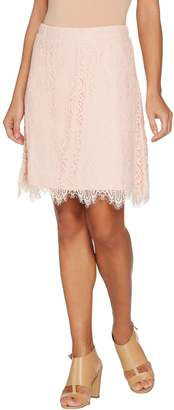 Isaac Mizrahi Live! Knit Lace Pull-On Skort with Scallop Hem