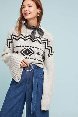 Cupcakes And Cashmere Geometric Bell-Sleeved Sweater