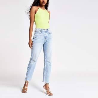 River Island Womens Petite Green scallop trim bodysuit