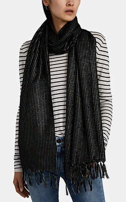 Saint Laurent Women's Metallic-Striped Wool Scarf - Black