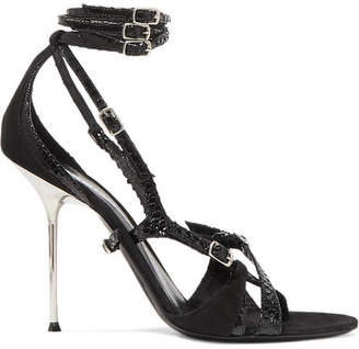 Alexander Wang Kiely Snake-effect Leather And Suede Sandals - Black