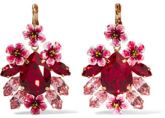 Dolce & Gabbana Gold-tone, Resin And Crystal Earrings - Red