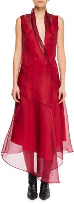 Olivier Theyskens Sleeveless Silk Asymmetric Flared Midi Dress w/ Rolled Collar