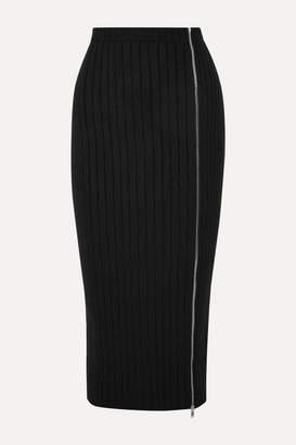 Palm Angels Zip-detailed Ribbed Wool-blend Midi Skirt - Black