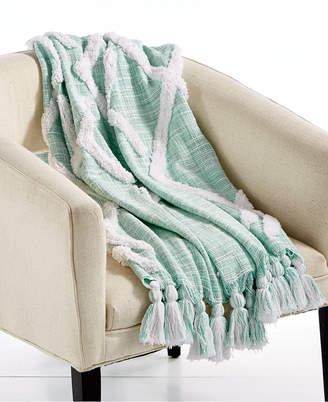 "Lacourte Riya Cotton Seafoam 50"" x 60"" Tufted-Chenille Throw, Created for Macy's"