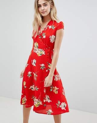 boohoo Floral Pleat Trim Wrap Midi Dress