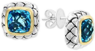 Effy Blue Topaz Stud Earrings (7-1/10 ct. t.w.) in Sterling Silver & 18k Gold