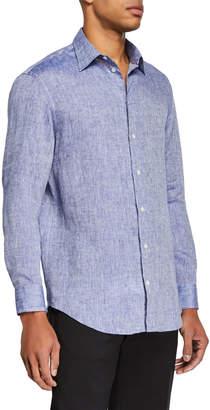 Emporio Armani Men's Linen Sport Shirt Medium Blue