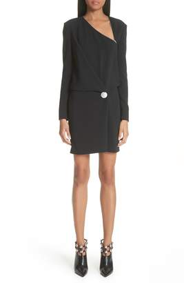 Alexander Wang Draped Long Sleeve Crepe Dress