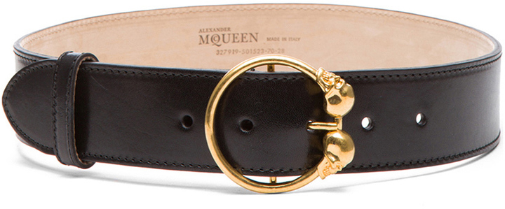 Alexander McQueen Double Skull Leather Hip Belt