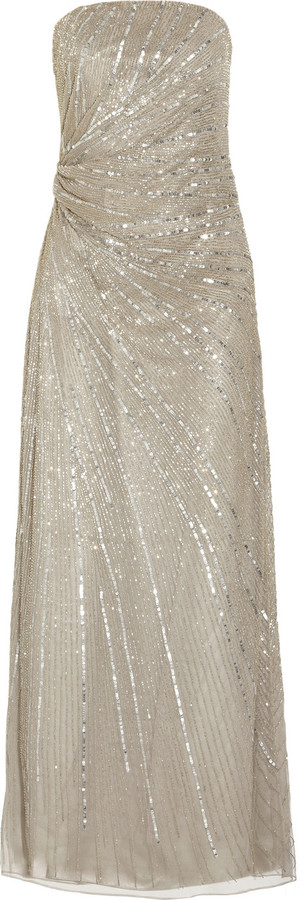 Paul & Joe Floride strapless beaded tulle gown