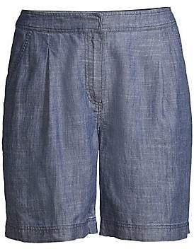 Trina Turk Women's Tourist High-Waist Fleet 2 Chambray Shorts - Size 0