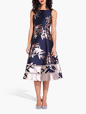 Adrianna Papell Floral Jacquard Dress, Navy/Blush