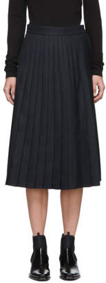 Thom Browne Navy Below Knee Machine Pleated Skirt