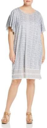 Lucky Brand Plus Printed Flutter-Sleeve Dress