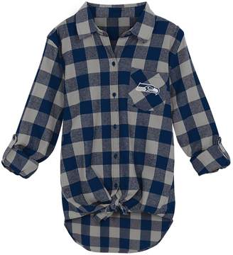 Juniors' Seattle Seahawks Spirit Week Knot-Front Plaid Flannel Shirt