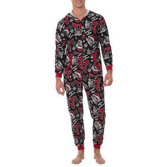 ONESIES Fleece Onesies One Piece Pajama Meowy Christmas Print-Mens