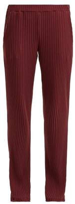 Hanro Minna Ribbed Cotton Blend Pyjama Trousers - Womens - Burgundy