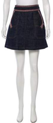 See by Chloe Embroidered Denim Skirt