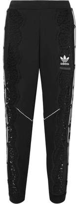 Stella McCartney Adidas Originals Lace-paneled Cotton-jersey Track Pants - Black