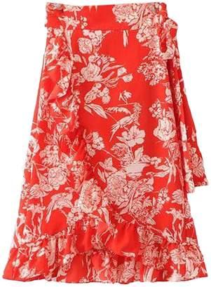 Goodnight Macaroon 'Linda' Floral Print Ruffle Hem Wrap Midi Skirt