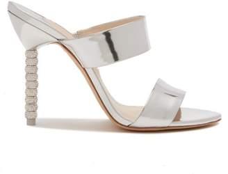 Sophia Webster Rosalind Crystal Embellished Leather Mules - Womens - Silver