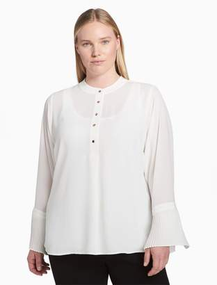 Calvin Klein plus size button-down flared cuff top