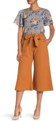 CODEXMODE Solid Tie Front Wide Leg Cropped Pants